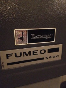 Fumeo X900 16mm Projector Label from Xetron in The Plaza Theatre