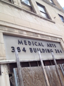 The Boarded-Up Front Entrance To The Medical Arts Building