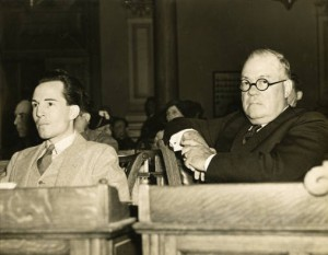 Dick Gallogly and Attorney during Gallogly's third trial in 1930.