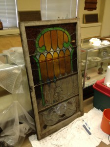 Stain Glass from The Original First Methodist Church Being Restored By Carol Colly History Atlanta 2013