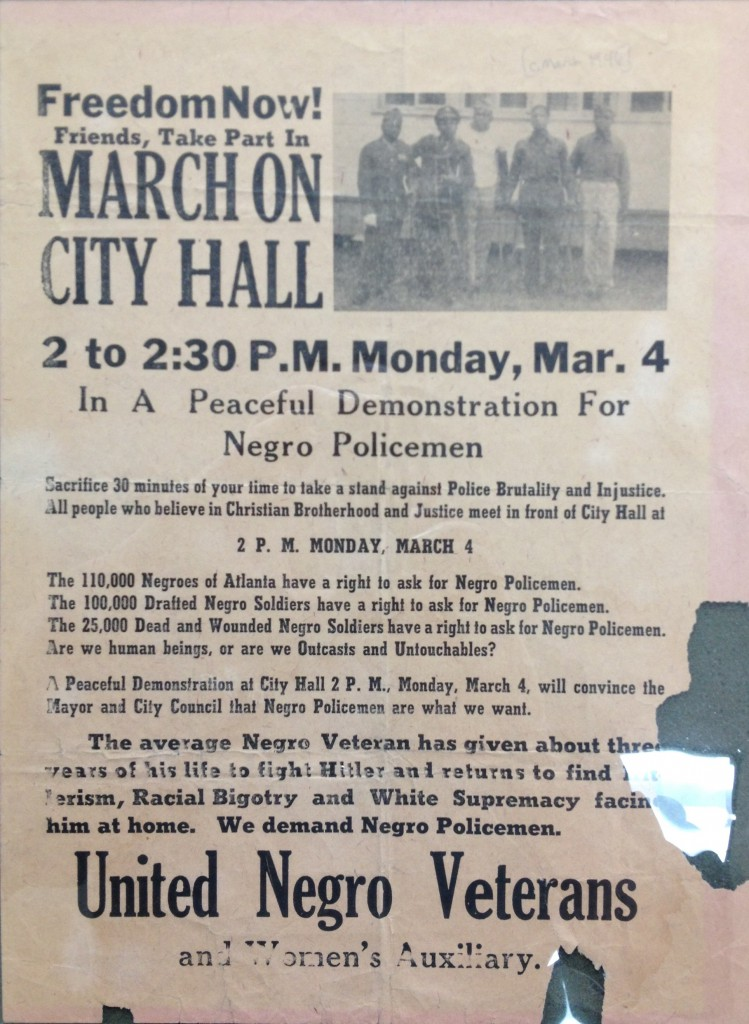 Flyer for a March on Atlanta City Hall Demanding African American Police Officers, March 4th, 1946, from the Hartsfield Papers at MARBL - History Atlanta 2013