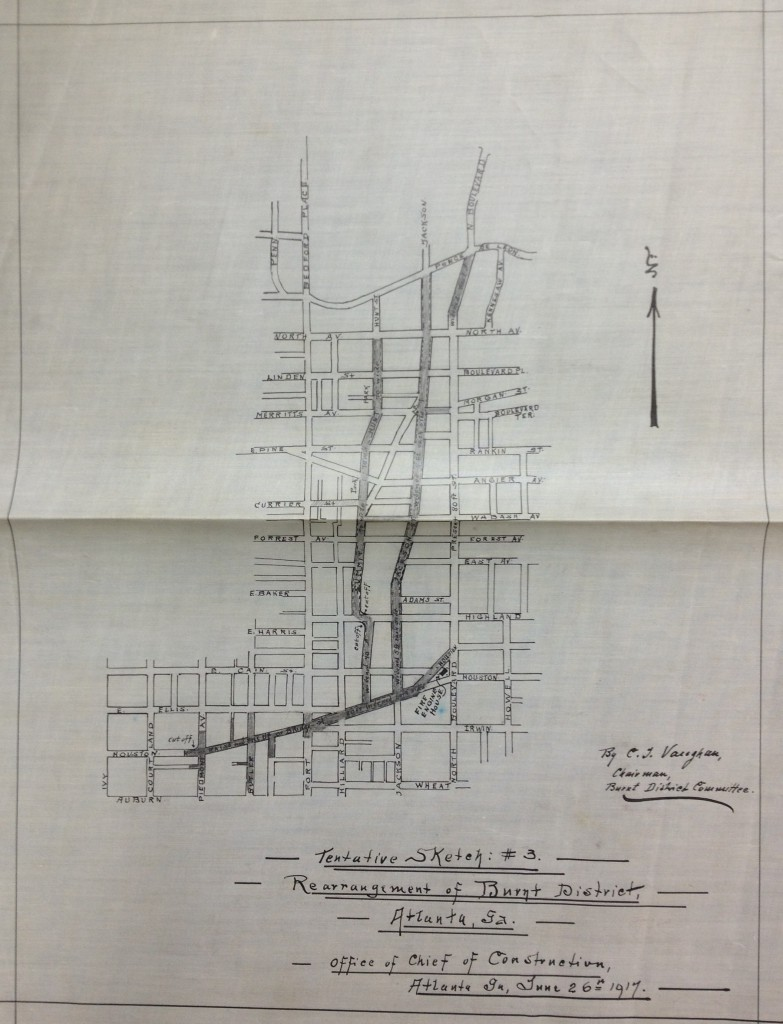 Tentative Sketch # 3 of the Rearrangement of the Burnt District, Atlanta GA, June 26th, 1917 by C.J. Vaughan Now Held at MARBL - History Atlanta 2013