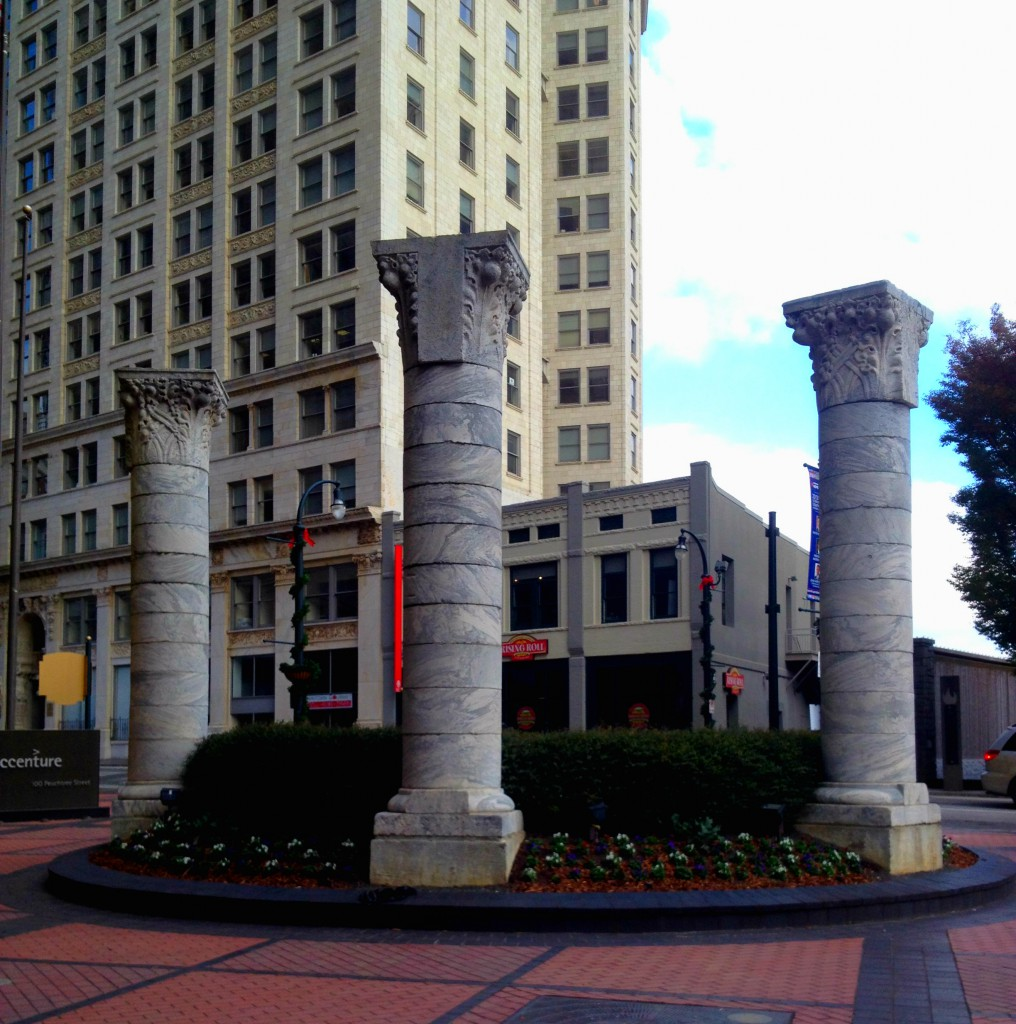 These Three Columns Are From The 1892 Equitable Building (There Were 24 Columns) And Now Reside In The New Equitable Building's Plaza Moved There In 1994 From A Subdivision In North Atlanta; They Are 20 Feet Tall And Weigh Between 15 and 20 Tons - History Atlanta 2013