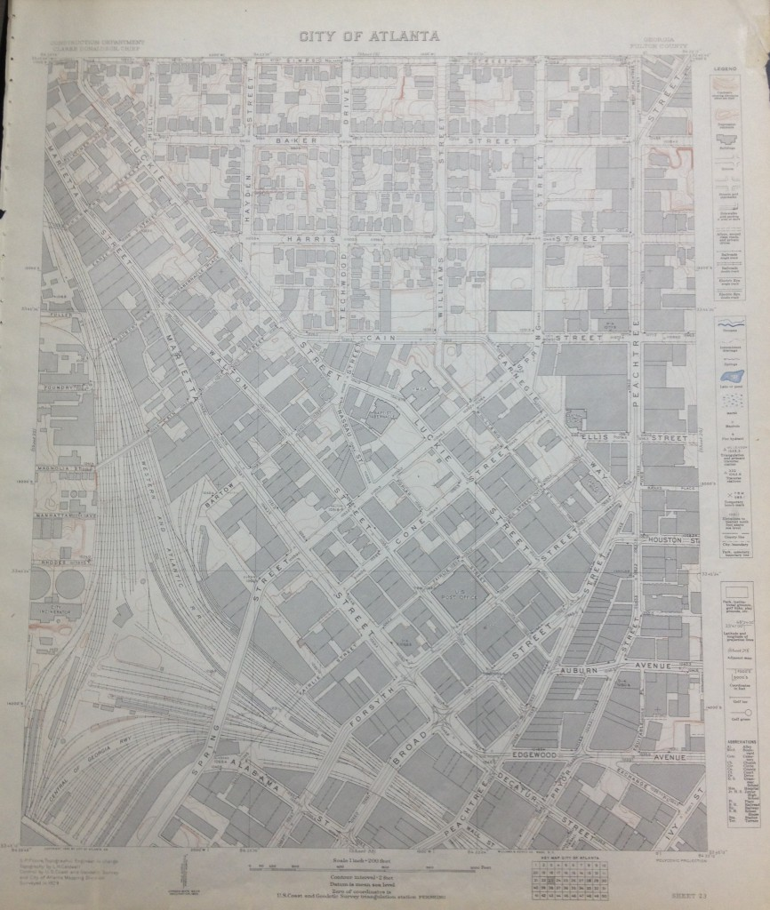 The U.S. Coast and Geodetic Survey of Atlanta by the Atlanta Mapping Division in 1929 at MARBL - History Atlanta 2013