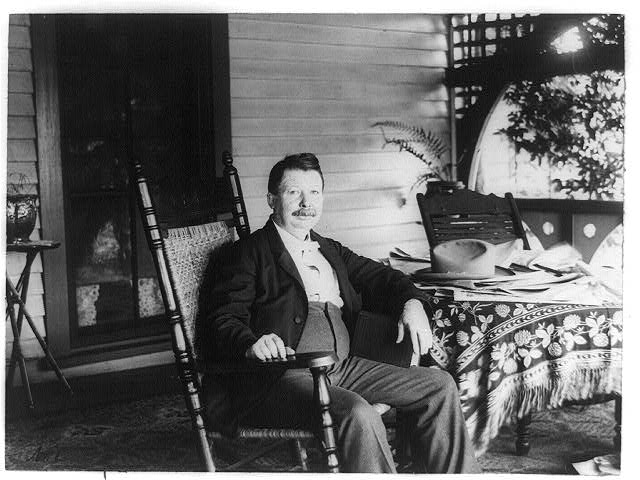 Joel Chandler Harris Seated on the Front Porch of the Wren's Nest - US Library of Congress