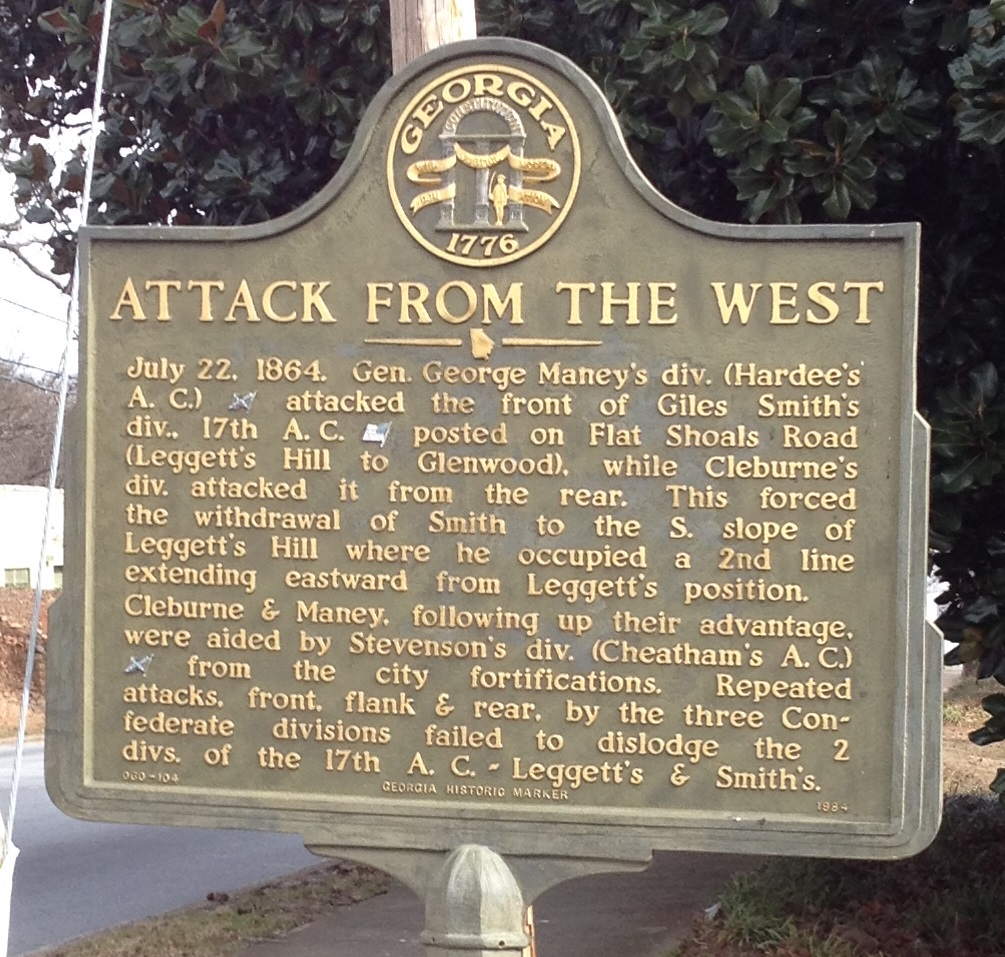 Historic Marker for the Battle of Leggett's Hill - History Atlanta 2014