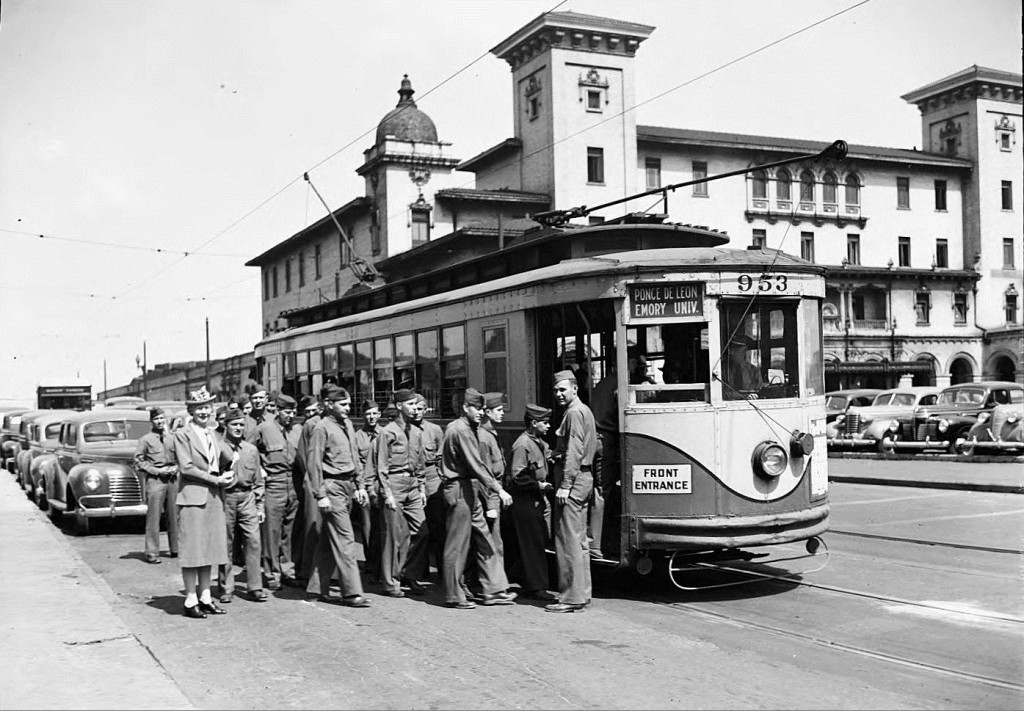 Georgia Power Company Streetcar in Front of Terminal Station in 1942 - Georgia State University Library