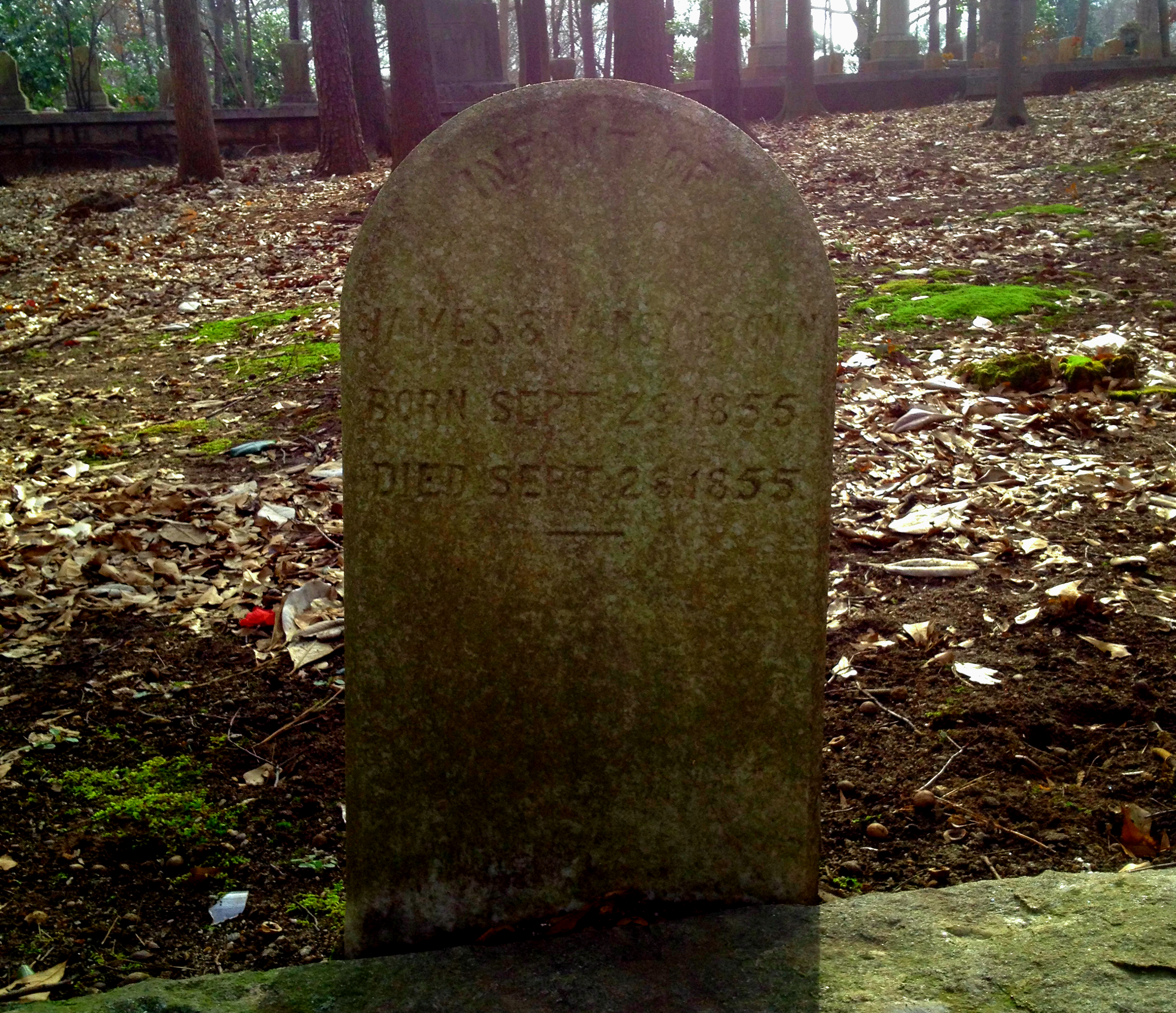 Another Infant of the Browns Buried in 1855 in Sylvester Cemetery in East Atlanta - History Atlanta 2014