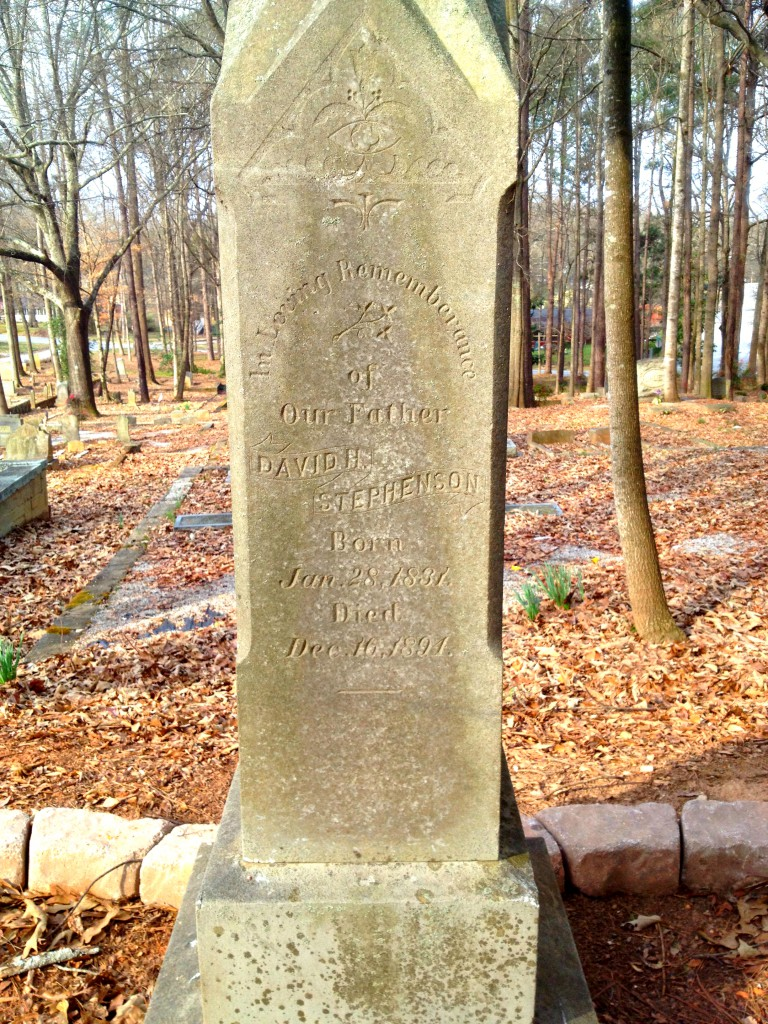 David Stephenson 1831 - 1894 in Sylvester Cemetery in East Atlanta - History Atlanta 2014