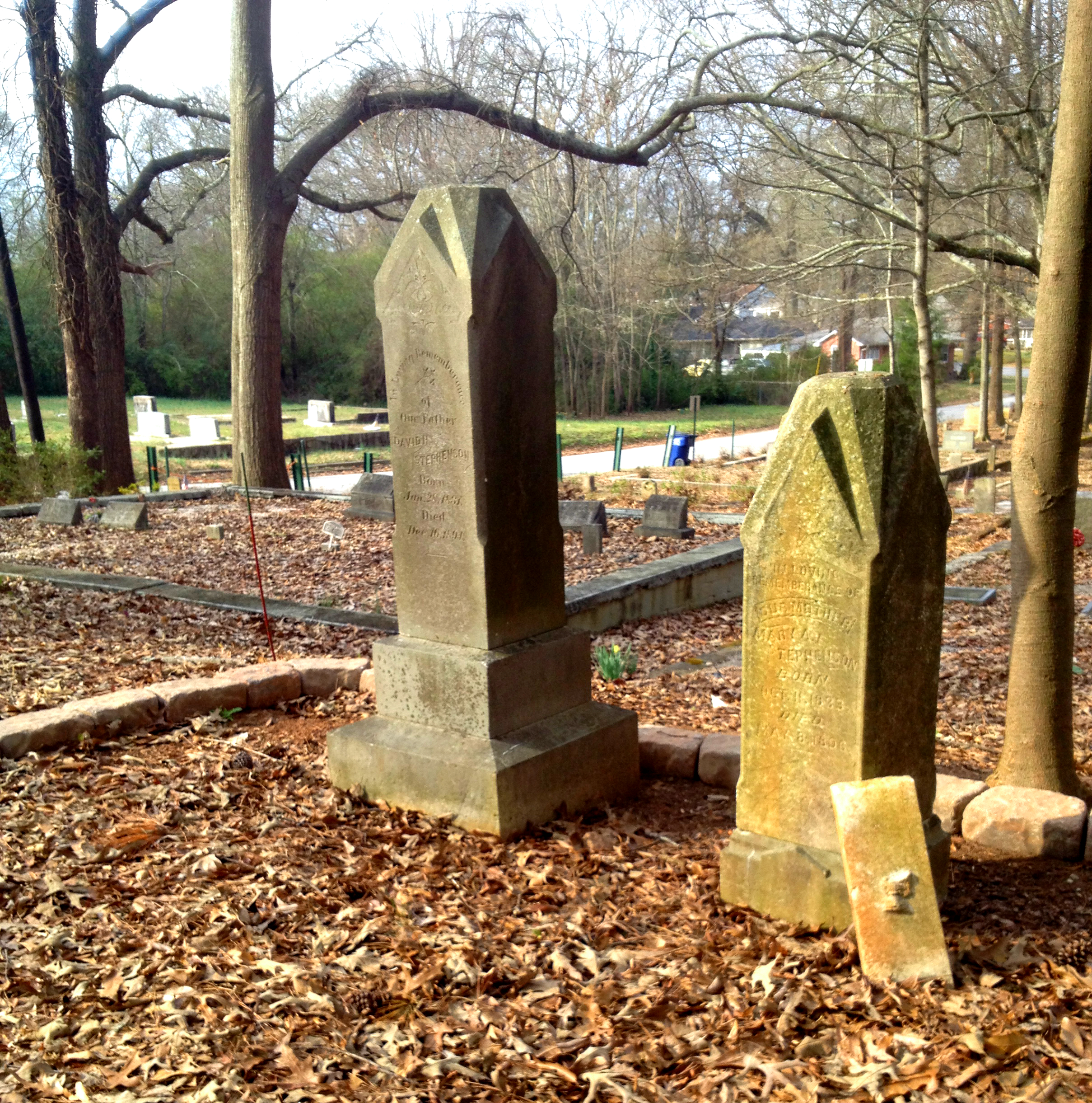 David Stephenson (Left) died in 1894 and Mary Stephenson (Right) died in 1896 in Sylvester Cemetery in East Atlanta - History Atlanta 2014