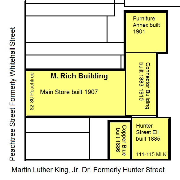 Map of the M. Rich Building - Many Thanks to Kyle Kessler for the Dates and Layout - History Atlanta 2014