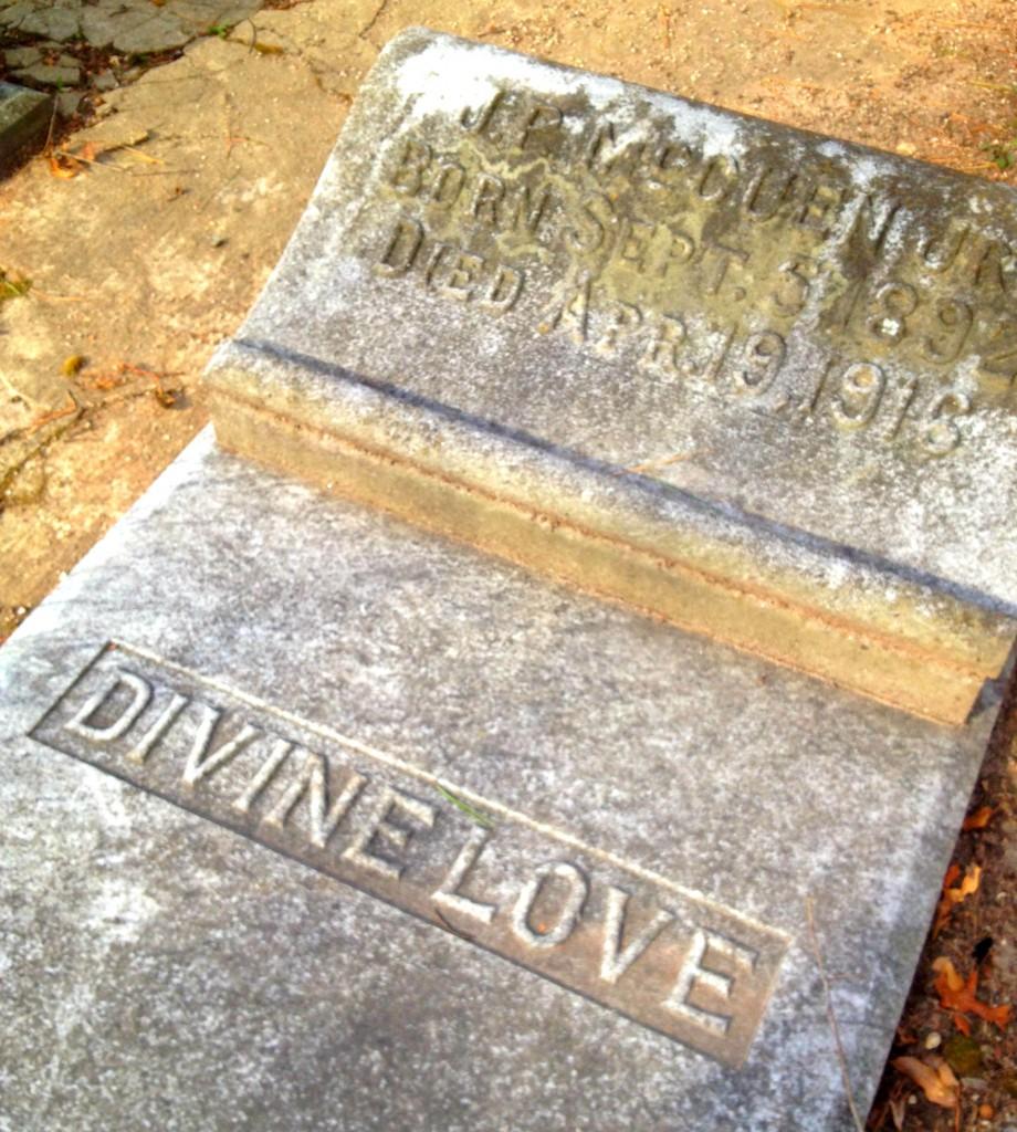 Divine Love - Charlie Yancey J.R. McCuen Jr. Gravestone in Sylvester Cemetery in East Atlanta - History Atlanta 2014