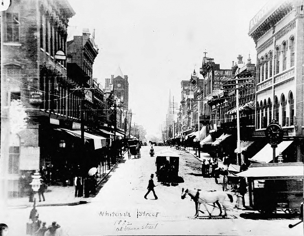Looking South on Whitehall Street with Alabama Street Crossing in 1882 - Georgia State University Library