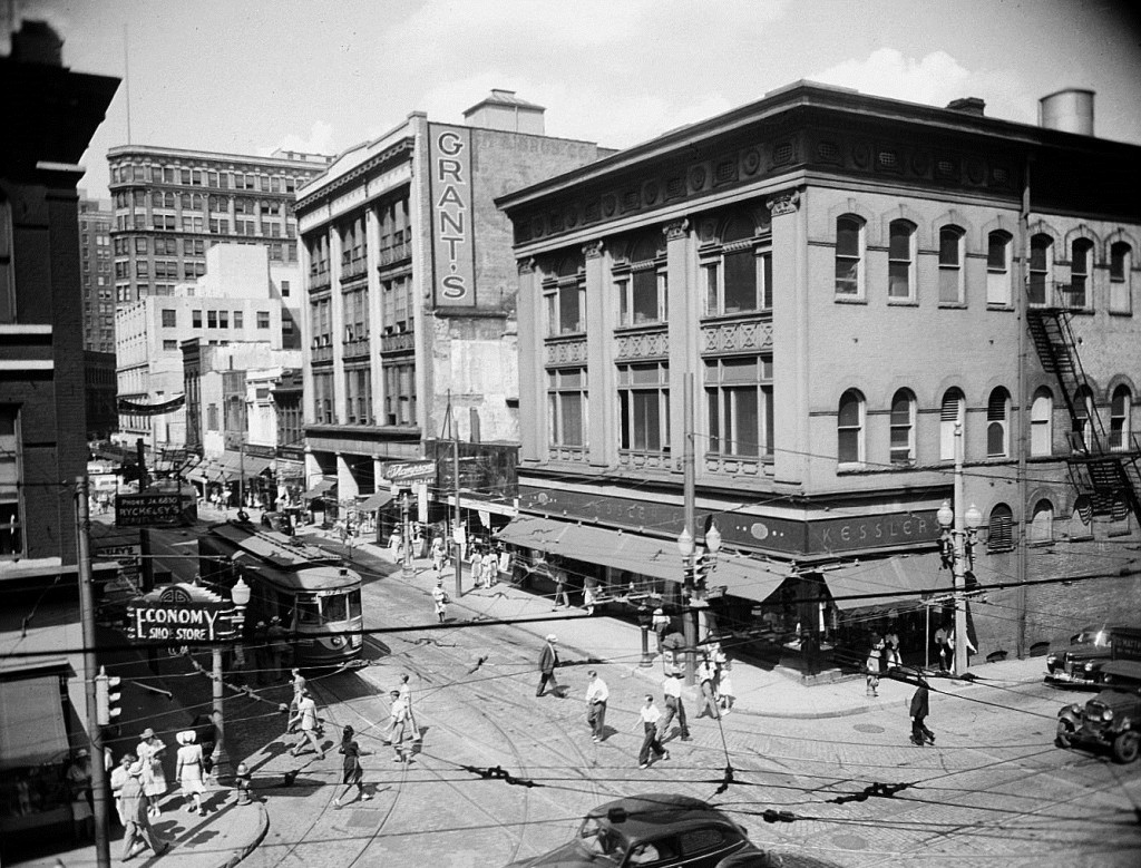 The Corner of Whitehall Street and Hunter Street on July 21st, 1942 - Georgia State University Library
