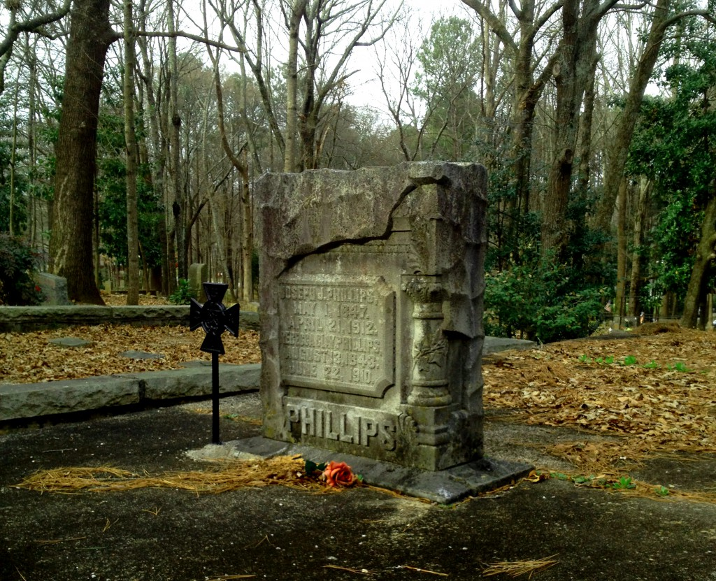 The Grave of Civil War Confederate Veteran Joseph J Phillips 1847 - 1912 in Sylvester Cemetery in East Atlanta - History Atlanta 2014