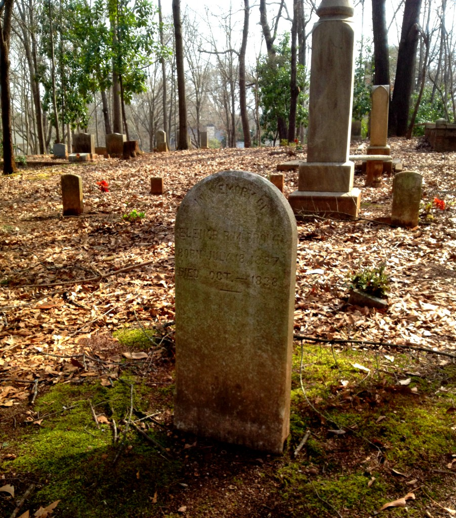 The Oldest Marker in Sylvester Cemetery in East Atlanta - Elenor R.M. Brown Died 1838 - History Atlanta 2014