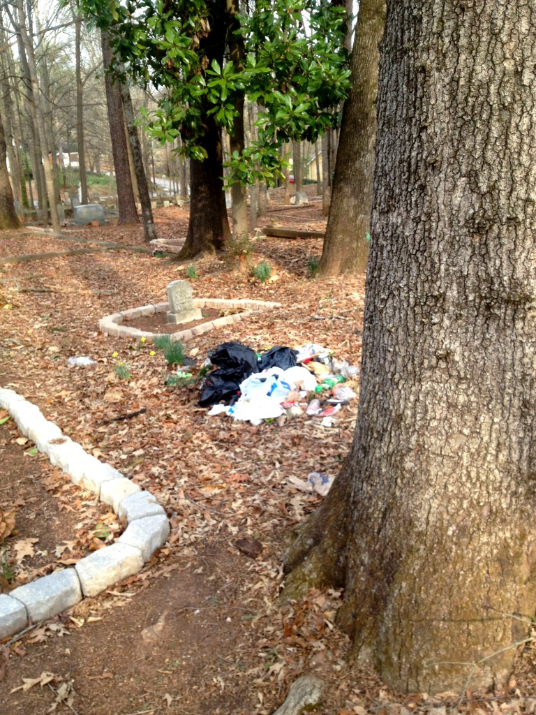 The Virgil Mobley Grave, Right Near a Pile of Trash in Sylvester Cemetery - History Atlanta 2014