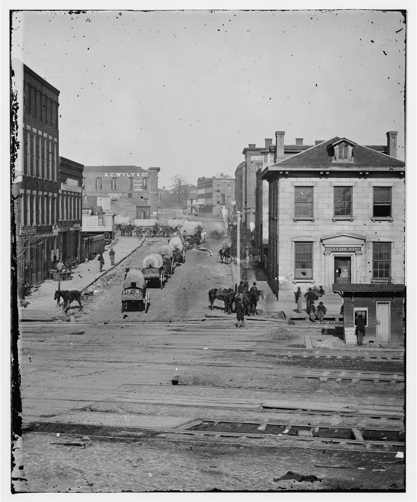 Whitehall Street Looking North Across The Railroad Tracks in 1864 - US Library of Congress