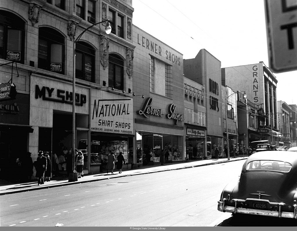 Whitehall Street on January 9th, 1955 - You Can See The M. Rich Building, At That Point a Grant's Department Store, In the Distance - Georgia State University Library