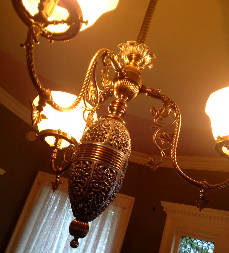 The Original Brass and Pewter Light Fixture in the Dining Room at the Shellmont Inn - History Atlanta 2014