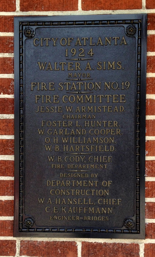 The Plaque on the Atlanta Fire Station No. 19 - History Atlanta 2014