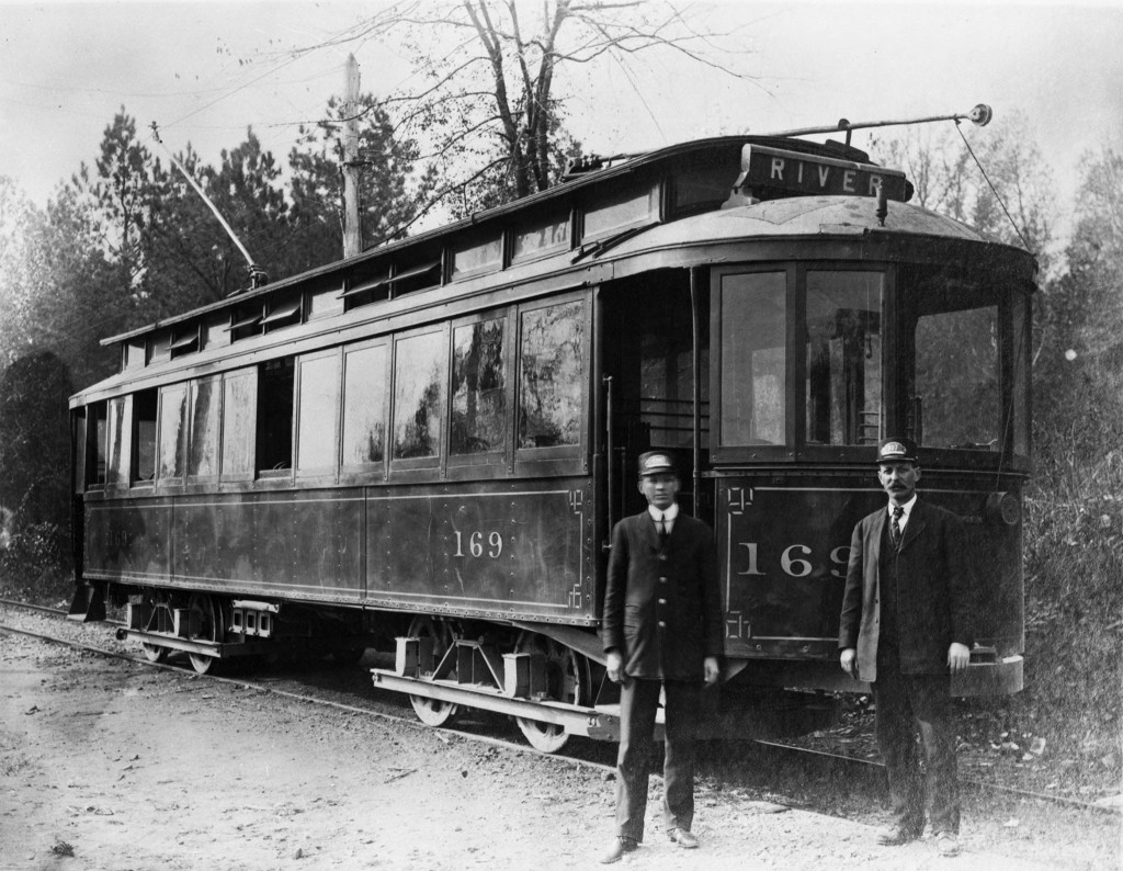 Two Conductors Outside Streetcar 169 End of the River Line at Riverside Atlanta Georgia in 1908 - Georgia State University Library