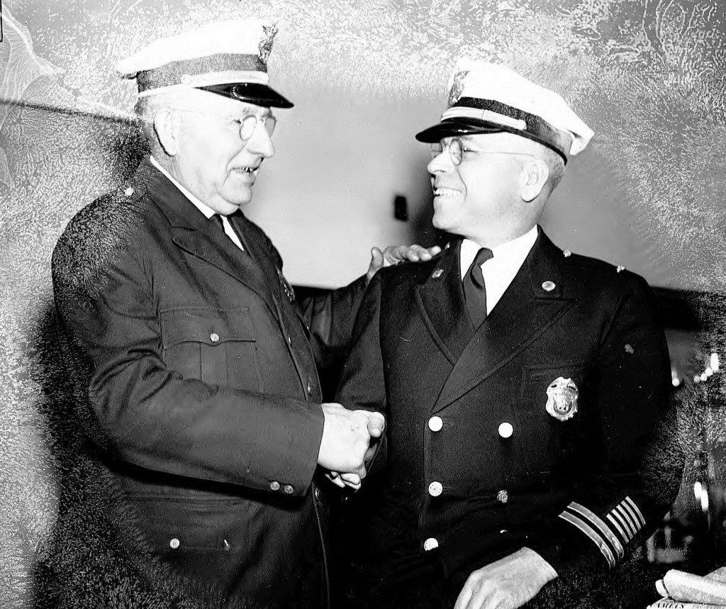 Chief Marion Hornsby (left) with Captain A.G. Holcomb (right) - Hornsby Personally Directed the Murder Investigation of Henry Heinz by Fulton County Police - Georgia State University Library