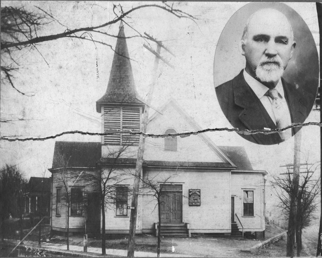 North Atlanta Baptist Church at 10th Street and Hemphill Avenue around 1900 and Rev. Billy Bell pastor - Georgia State University Library
