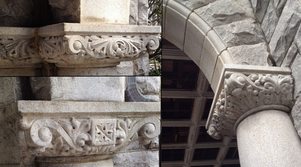 The Exterior Columns of Rhodes Hall offer Different Designs - the Ones in the Rear are Bland in Order to Save the Rhodes' Money - History Atlanta 2014