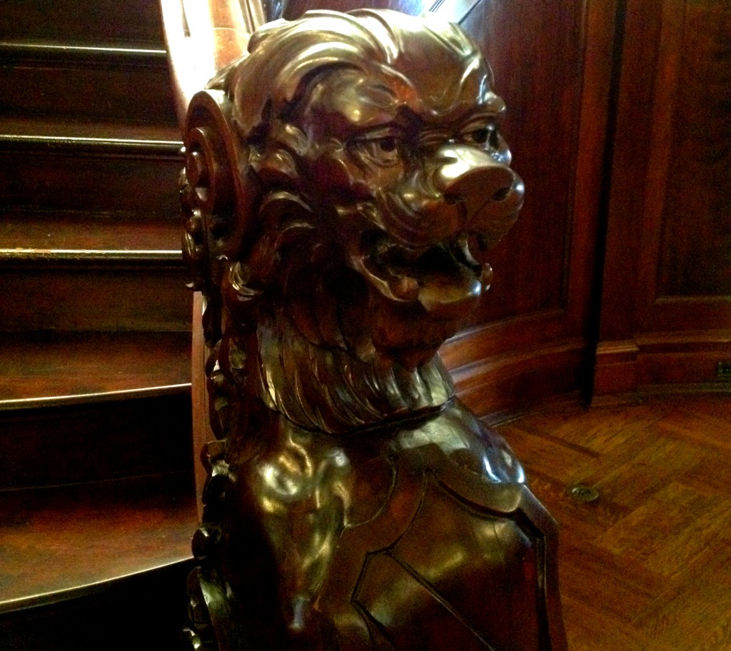 The Lion on The Main Staircase Newel at Rhodes Hall - History Atlanta 2014