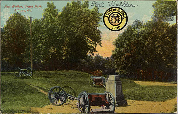 A Monument in Fort Walker in Grant Park in an Undated Postcard - Georgia Archives