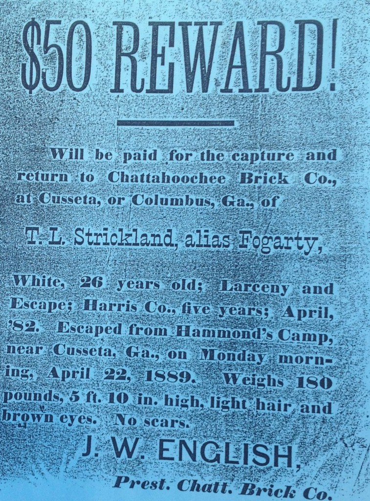 A Reward Poster for an Escaped Convict from Chattahoochee Brick Company in 1889 - History Atlanta 2014