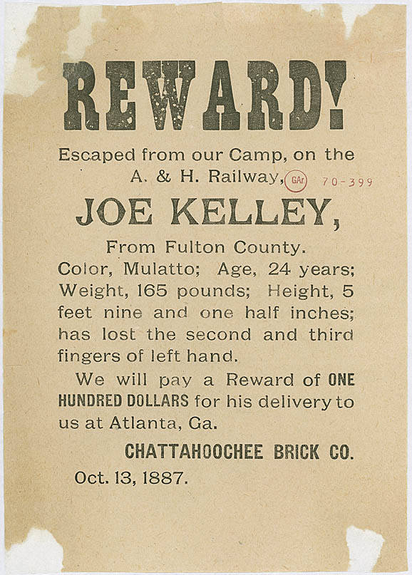 A Reward Poster from 1887 for an Escaped Convict from the Chattahoochee Brick Company - Georgia State Archives
