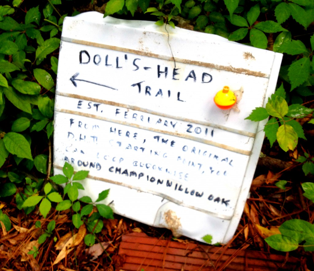 A Sign on Doll's Head Trail at Constitution Lakes Park - History Atlanta 2014