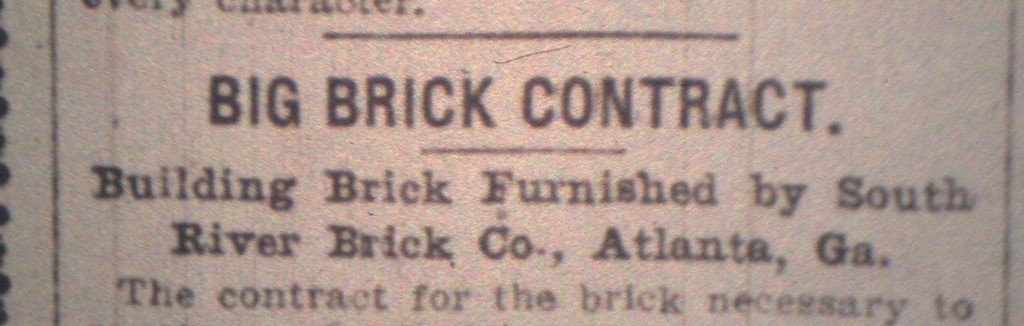 A Write-Up in the Atlanta Constitution on November 19th, 1905 on the South River Brick Company's Involvement in the Candler Building - History Atlanta 2014