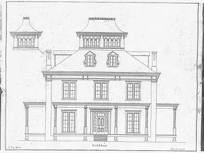 Original Fay Drawing of the Grant Mansion from 1854 - Atlanta Preservation Center