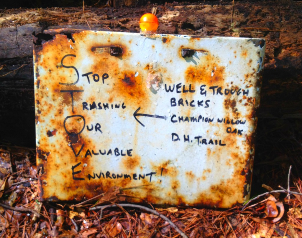 Stop Trashing Our Valuable Environment - A Sign Out at Constitution Lakes Park - History Atlanta 201