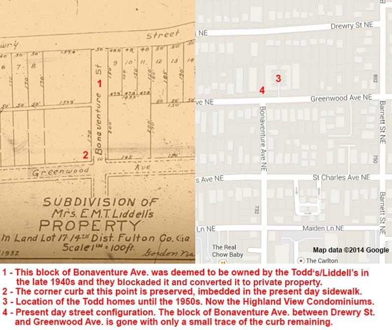 Bonaventure Avenue Then & Now - Virginia-Highland Civic Association & Google Maps
