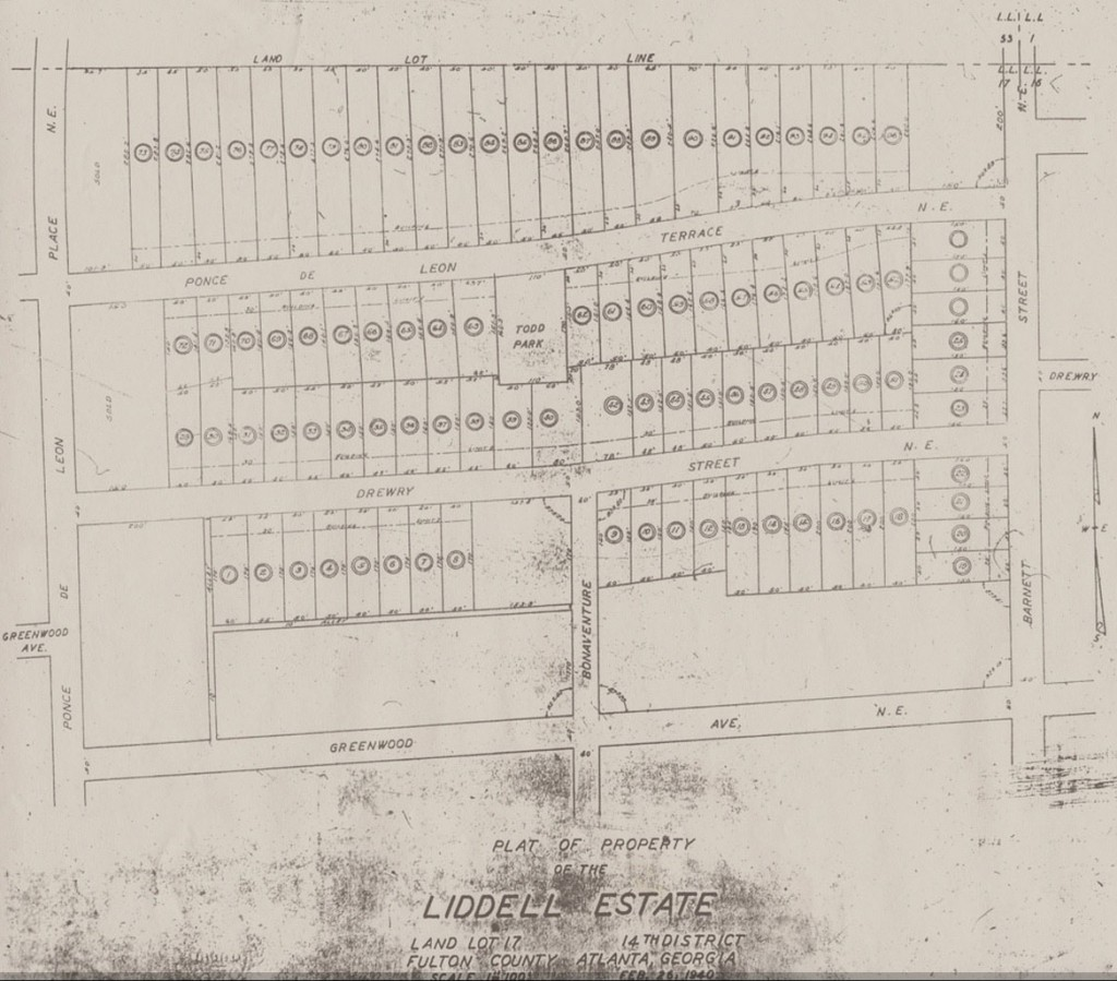 Liddell Estate Property Map from February 26, 1940 - Virginia-Highland Civic Association
