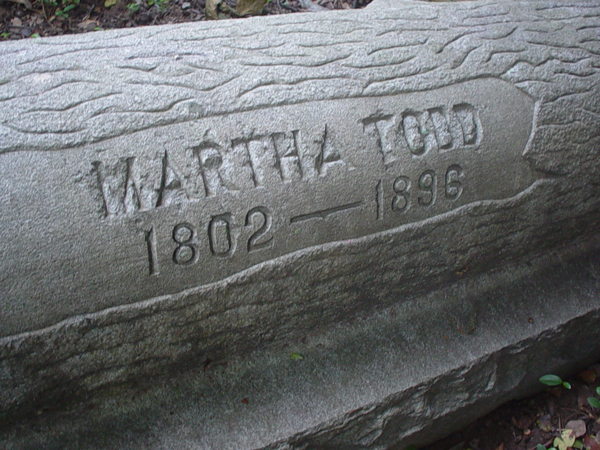 Martha Todd Inscription - The inscription appears to have been bashed and damaged by a hammer or some tool - No one interviewed for this article knows how this damage occurred - Andrew Wood 2008