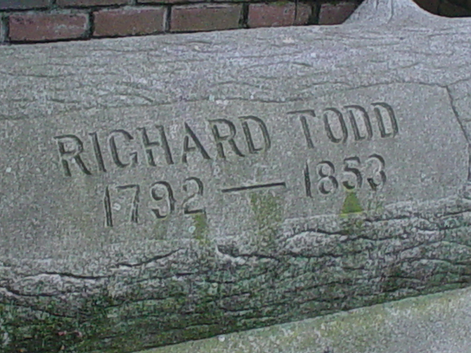 Richard Todd Inscription - The Todds were the first Non-Native American Settlers in What would become Atlanta - Andrew Wood 2008