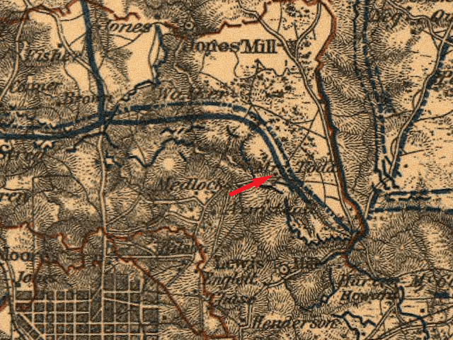 The House of Mrs. Todd is Pointed out on This 1864 Map - Courtesy of Andrew Wood