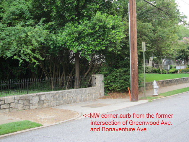 The Northwest Corner Curb of the Former Intersection of Greenwood Avenue & Bonaventure - Raymond Keen 2014
