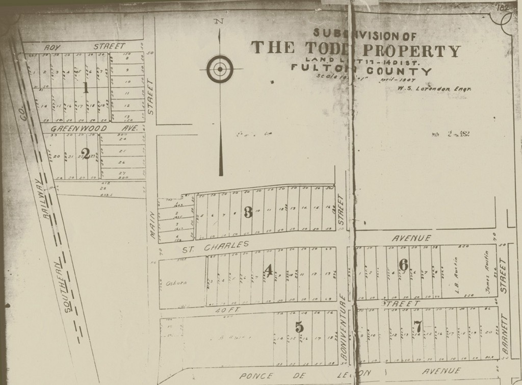 The Todd Property Subdivision Development Map from April 1907 - Virginia-Highland Civic Association