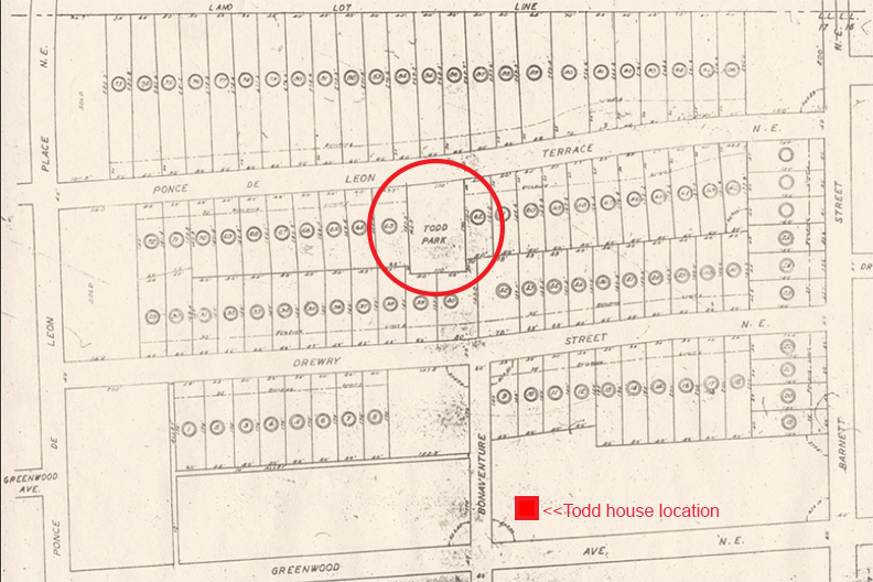 Todd Park Clearly marked in an Old Development Map - Courtesy Virginia-Highland Civic Association