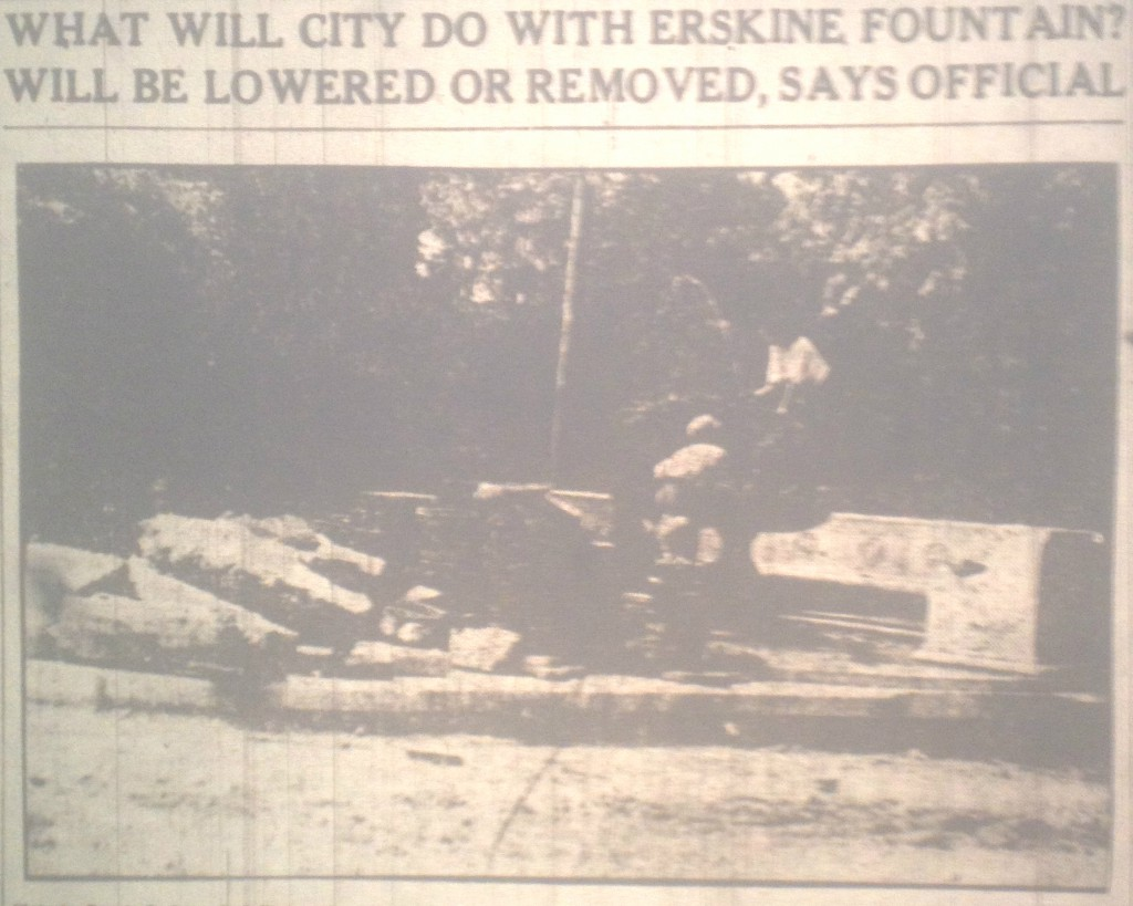 What Will Officials Do with the Erskine Memorial Fountain - Atlanta Constitution July 10th 1912