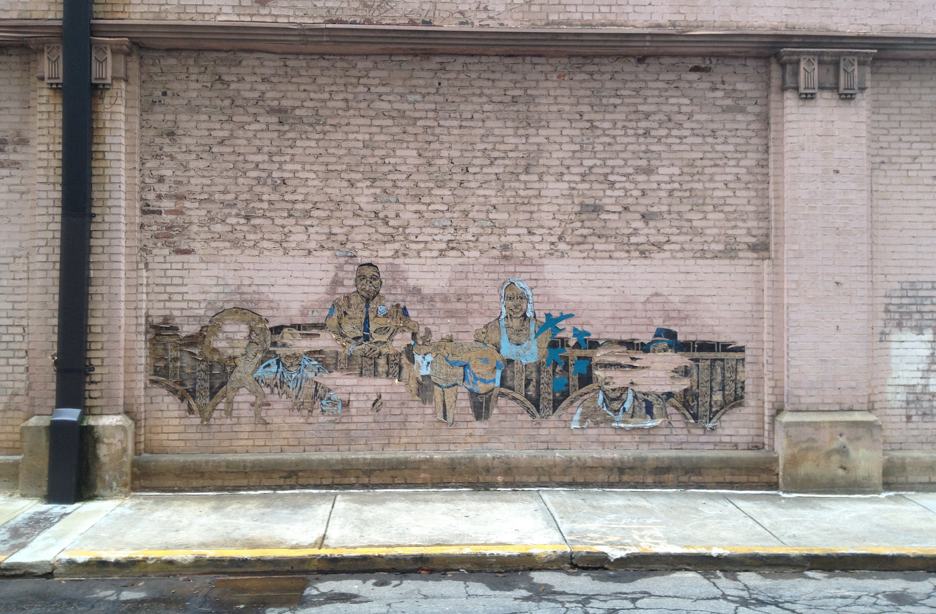 A Peeling Mural on the Side of the Switchyards Building at 151 Spring Street - History Atlanta 2014