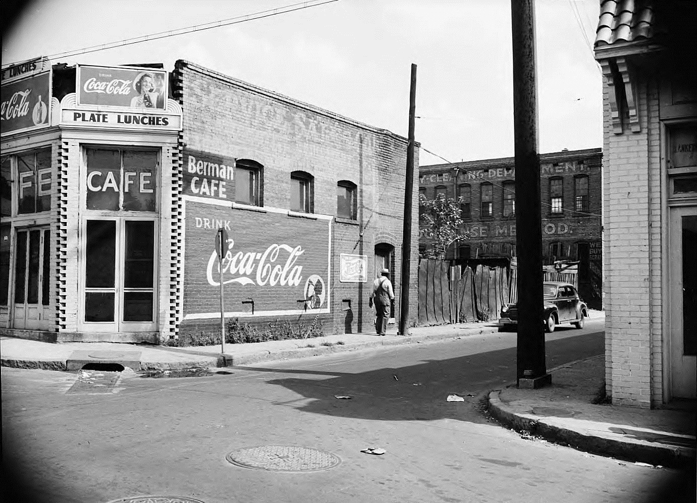 A Picture from the 1940's or 1950's showing Bermans Cafe on Edgewood Avenue - The Trio Laundry Building is behind it - Georgia State University Library