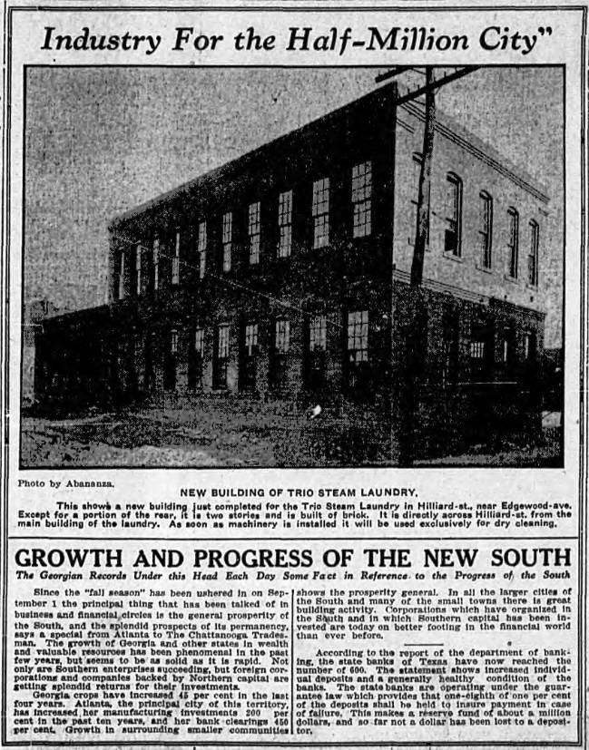 A newspaper Clipping recording the opening of the Trio Steam Laundry Building at 20 Hilliard Street on September 26th, 1910 - Georgia Archives