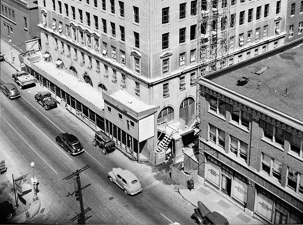The 151 Spring Street building and its longtime neighbor the Baptist Home Mission building at 161 Spring on July 7, 1949 - Georgia State University Library